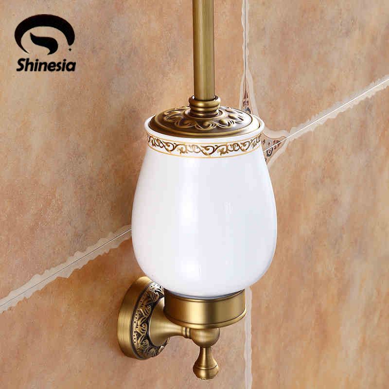 Wholesale And Retail Antique Brass Toilet Brush Holder Solid Brass Ceramic Cup Wall Mount Cleaning Brush Set antique brush toilet brush holder luxury carved solid brass toilet cleaning holder ceramic cup bathroom accessories