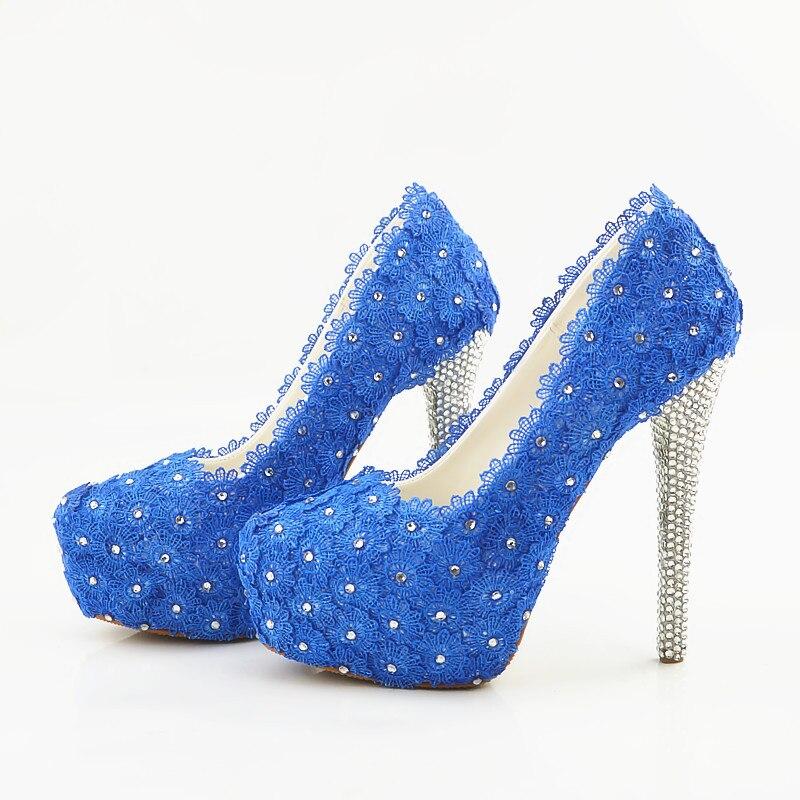 Scarpe 45 44 Da Pizzo Impermeabili Blu Metri Tacchi In 43 Metri Alti Sposa Sposa Donna fdxx1On