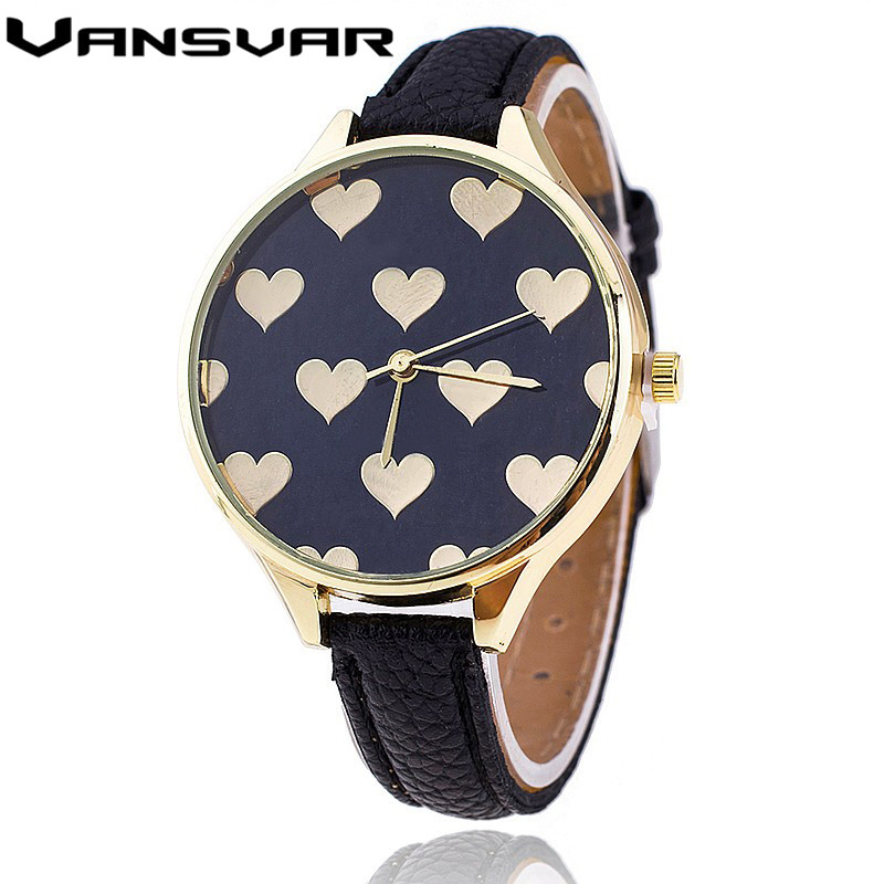 Vansvar 2016 New Fashion Love Heart Quartz Watch Casual Women Bracelet Watches Reloj Mujer Relogio Feminino Clock 1759 new fashion unisex women wristwatch quartz watch sports casual silicone reloj gifts relogio feminino clock digital watch orange