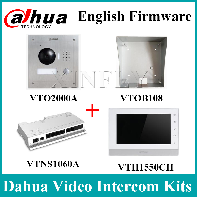 Dahua Videp Intercom Kits VTH1550CH IP Indoor Monitor VTOB108 Surface Mounted Box VTO2000A VTNS1060A Network Power Supply