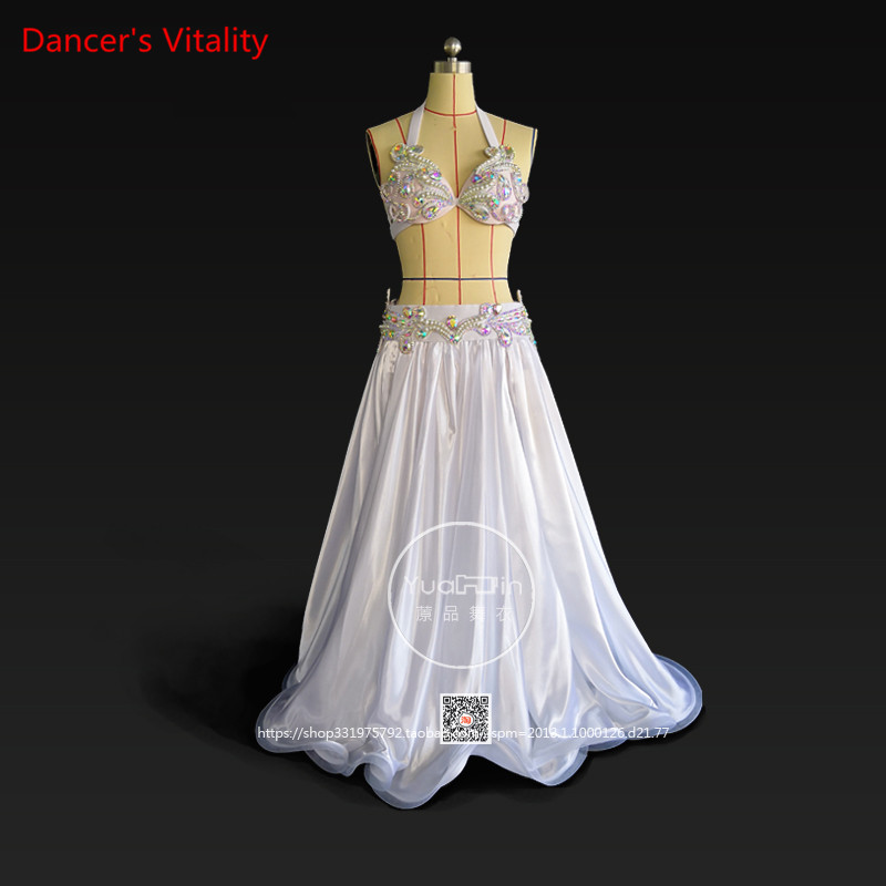 Professional Custom Made Luxury Women Belly Dance Set Bra+Skirt+Belt 3pcs Competition Belly Dance Performance Clothing