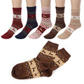 Luck dog Cute Christmas Deer Design Casual Knit Wool Socks Warm Winter Mens Women
