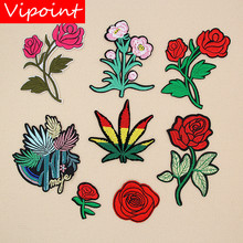 embroidery rose patches for dressing,flower badges applique jeans,appliques clothing XW-141