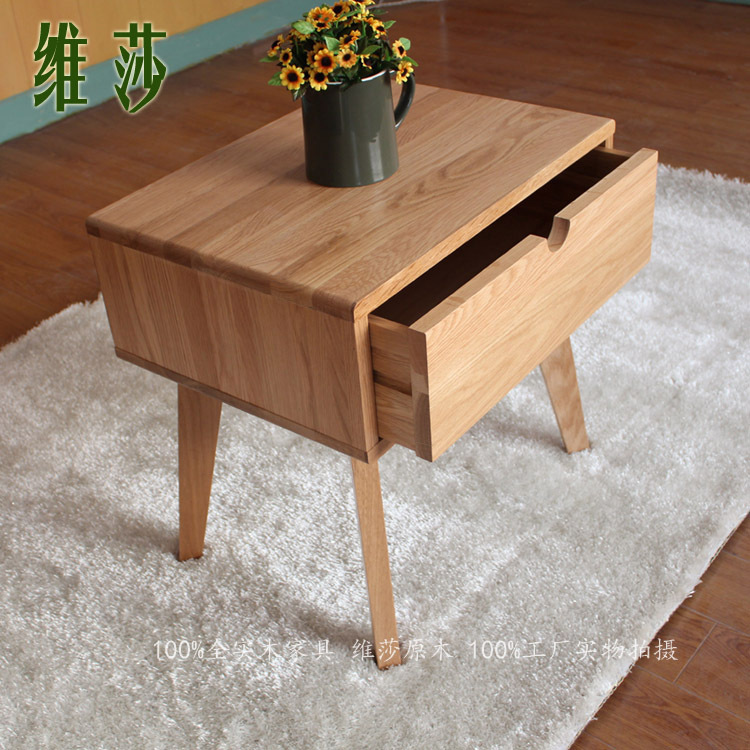 Japanese style furniture wood Nightstand,wood furniture,100% oak  Nightstand,square wood table,Pastoral style,Bedroom Furniture-in  Nightstands from Furniture ...