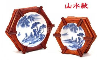 Wholesale red wood crafts rosewood inlaid porcelain ornaments desk room boutique ashtray Ashtray