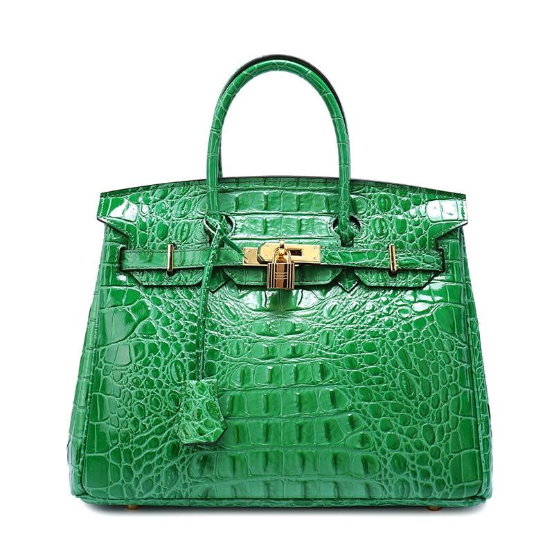 ФОТО 2017 Genuine Leather Alligator Bag Green Luxury Handbags Crocodile Women Bags Designer Sac A Main Bolsa Tassen Bolsas Femininas