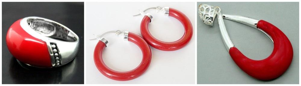 Parfait assorti rouge sculpté laque Marcasite 925 bague en argent Sterling (#7-10) boucles d'oreilles et bijoux Pandent ensembles