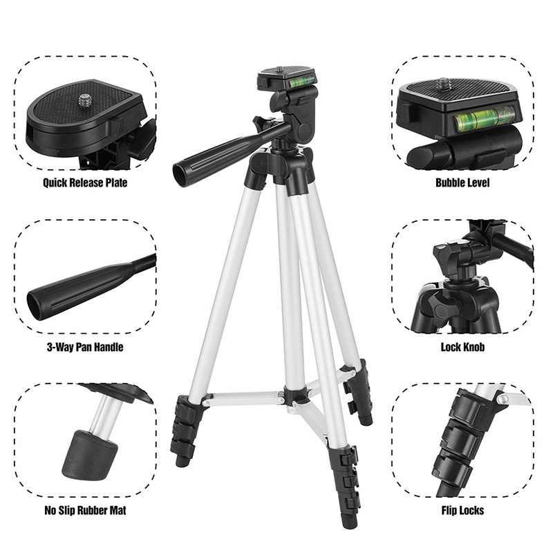 น้ำหนักเบากล้องขาตั้งกล้องขาตั้งโทรศัพท์แบบพกพาเดสก์ท็อปโทรศัพท์มือถือTripodeสำหรับiPhone Canon Sony Nikonกล้องPara