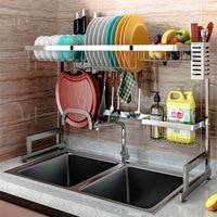 2019 Hot Hanger 304 Stainless Steel Kitchen Bitumen Rack Tray Finishing Stand Sink Double Bowl Tray Drain Rack Metal Tableware