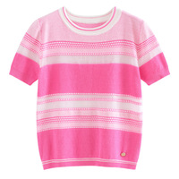 Knitted Cotton Womens tshirt 2019 New Round Neck Striped T shirt Brand High Quality Women Pink T Shirt Female Tops Tee
