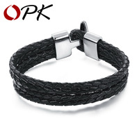 OPK Four Layer Leather Man Wrap Bracelets Vintage Black Genuine Leather Men Jewelry 15MM Width Anchor
