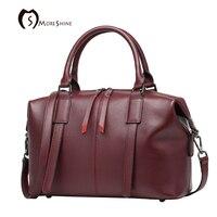 MORESHINE Brand Genuine Natural Leather Handbag For Women Designer Boston Shopper Bag Female High Grade Shoulder