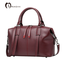 MORESHINE Brand Genuine Natural Leather Handbag For Women Designer Boston Shopper Bag Female High Grade Shoulder