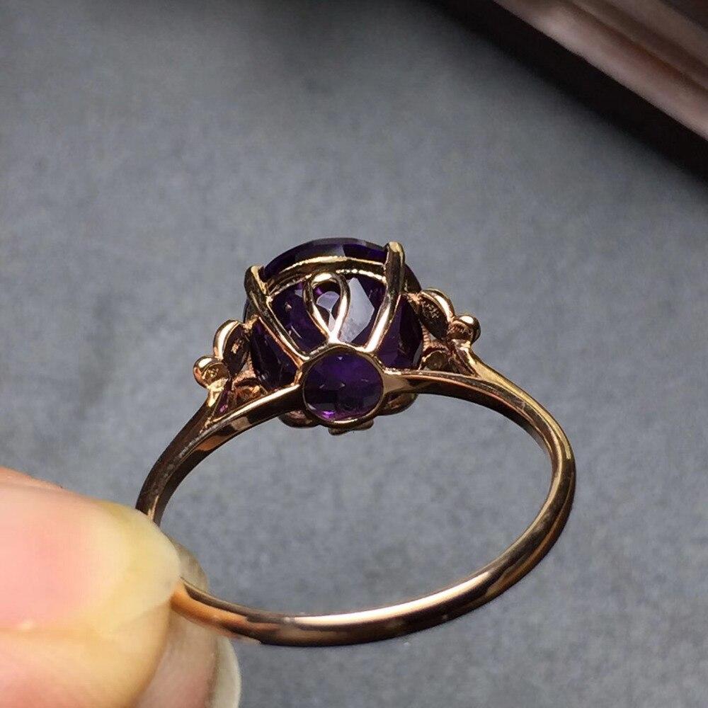 Image 5 - Ювелирные изделия Настоящее 18K золото AU750 100% натуральный аметистовый драгоченный камень женские кольца для женщинКольца    АлиЭкспресс