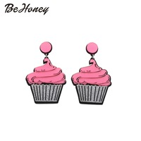 Acrylic laser jewelry Fashion Cute Cup Cake earrings Jewelry For Women wholesale free shipping