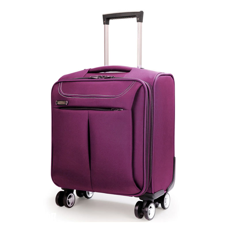Commercial 16 trolley luggage travel bag luggage bags universal wheels luggage box,high quality 16inches black/purple luggage