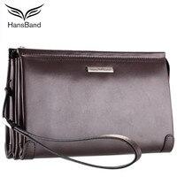 HansBand Luxury Brand Real Leather Men Clutch Wallets Big Capacity Phone Bag Cowhide Wallet Fashion Men Wallet Retro Male Purse