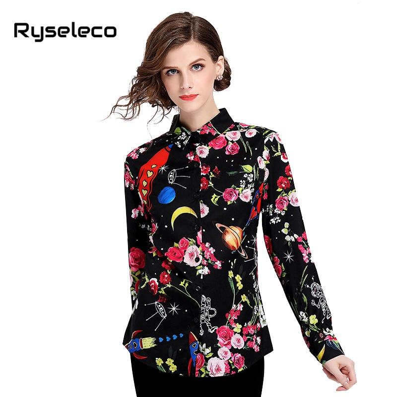 brand design black flower sky print blouses casual long sleeved lapel women shirt 2018 autumn new ladies elegant work wear shirt