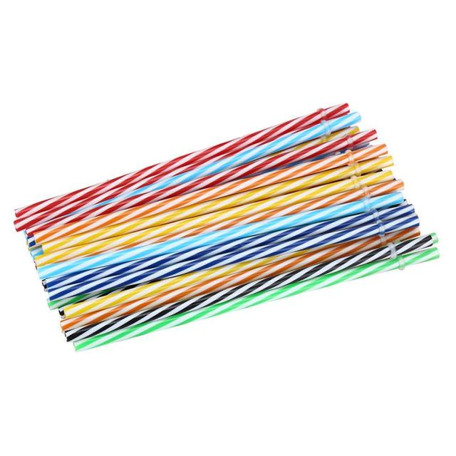 Reusable Biodegradable Striped Drinking Straws 25 Pcs Set