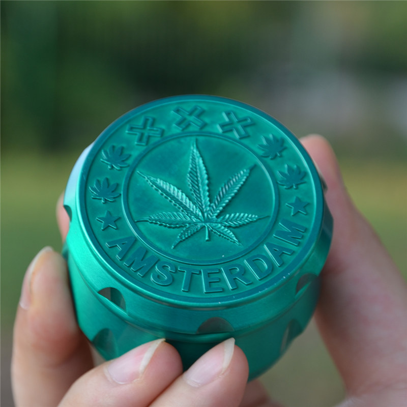 4 Colors Metal Leaf Design Herbal Herb Tobacco Grinder Smoke Grinders Hand Muller Spice Mill Crusher Smoking Accessory