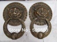 Livraison 17 Classique Cuivre Bronze Royal Palais Mal Feng Shui Tête de Lion heurtoir De Porte Paire rapide