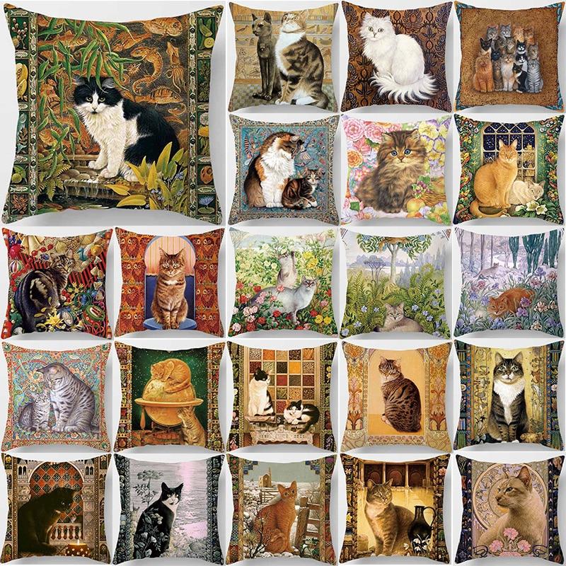 Hot sale beauty flower cats pillow cases square Pillow case cute cartoon rabbit pillow covers size