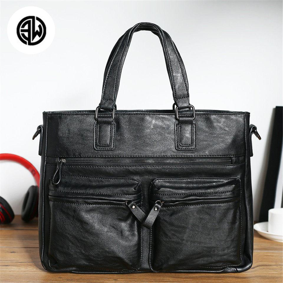 ETONWEAG Quality Soft Leather Bag Casual Men Handbags Men Business Style Briefcase Men's Travel Bags Worker Laptop Bag все цены
