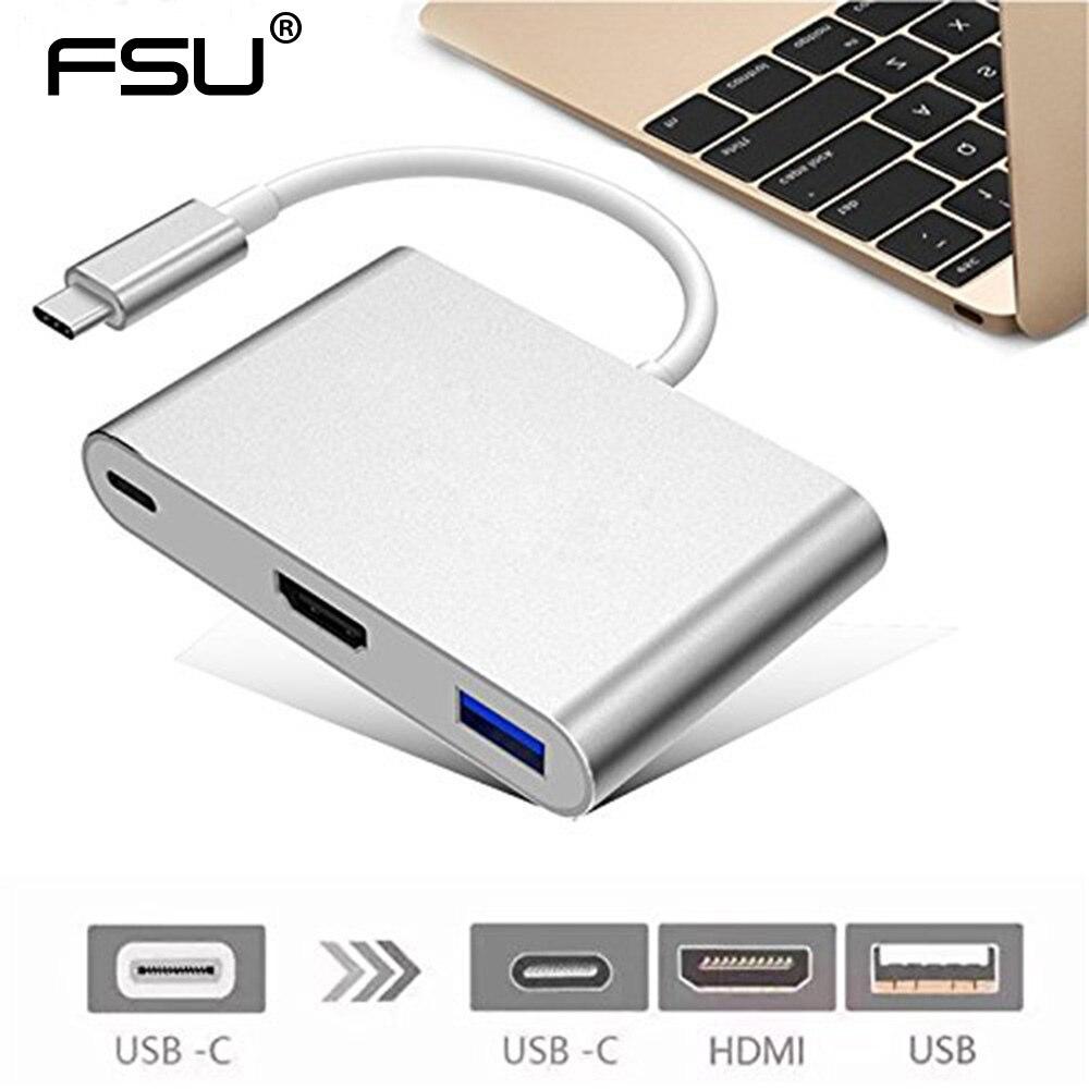 Haute résolution USB Type C 3.1 Convertisseur mâle à USB 3.0/HDMI/Type C Femelle Chargeur Adaptateur pour Apple Macbook pc