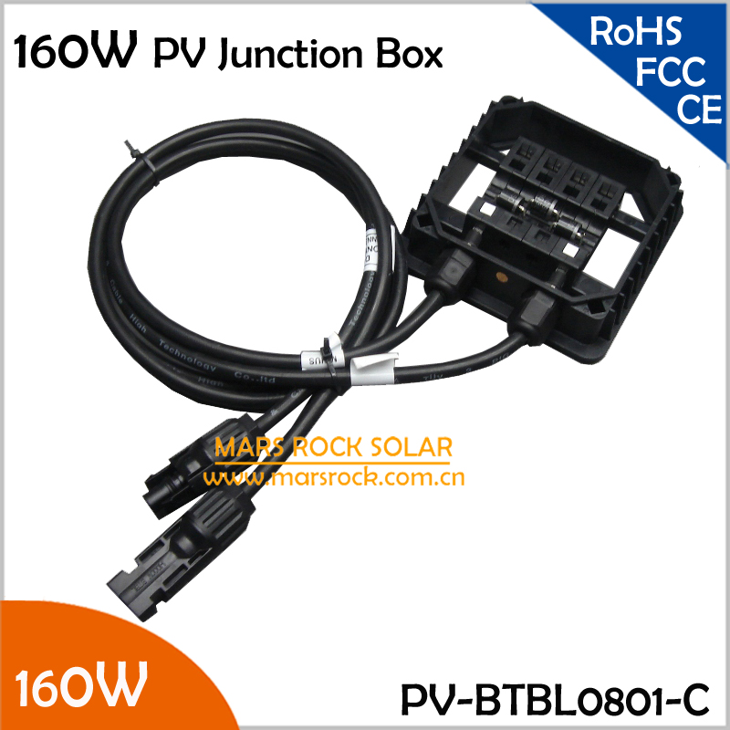 5 pcs/Lot Wholesale IP65 Waterproof Solar Junction Box 160W, 8A PV Junction Box, with 3 Diodes, MC4 Connector, 90cm Cable,TUV,UL 4pcs a lot diy plastic enclosure for electronic handheld led junction box abs housing control box waterproof case 238 134 50mm