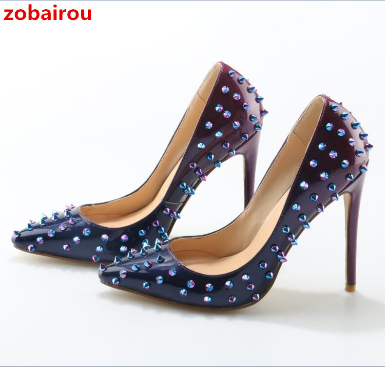 Zobairou Luxury Women Designer Shoes High Quality Brand Spikes 12cm Degrade Patent High Heels Pumps Sexy Pointed Toe Party Shoes women silver black rhinestone high heels with spikes sexy women pumps with spikes rivets crystal evening shoes with spikes