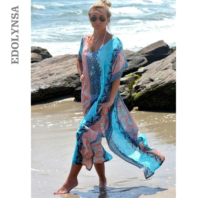 87bed4eb37519 2018 Summer Beach Dress Sexy Kaftan Beach Sarongs Chiffon Bikini Swimwear  Tunic Swimsuit Bathing Suit Cover