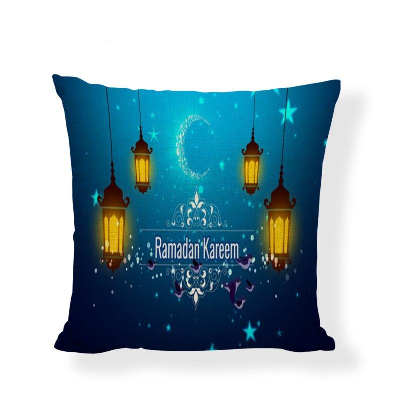 Islamic Eid al-Fitr Ramadan Cushion Cover 45X45CM Linen Material Muslim Home Sofa Chair Pillowcase Mosque Decoration Accessories