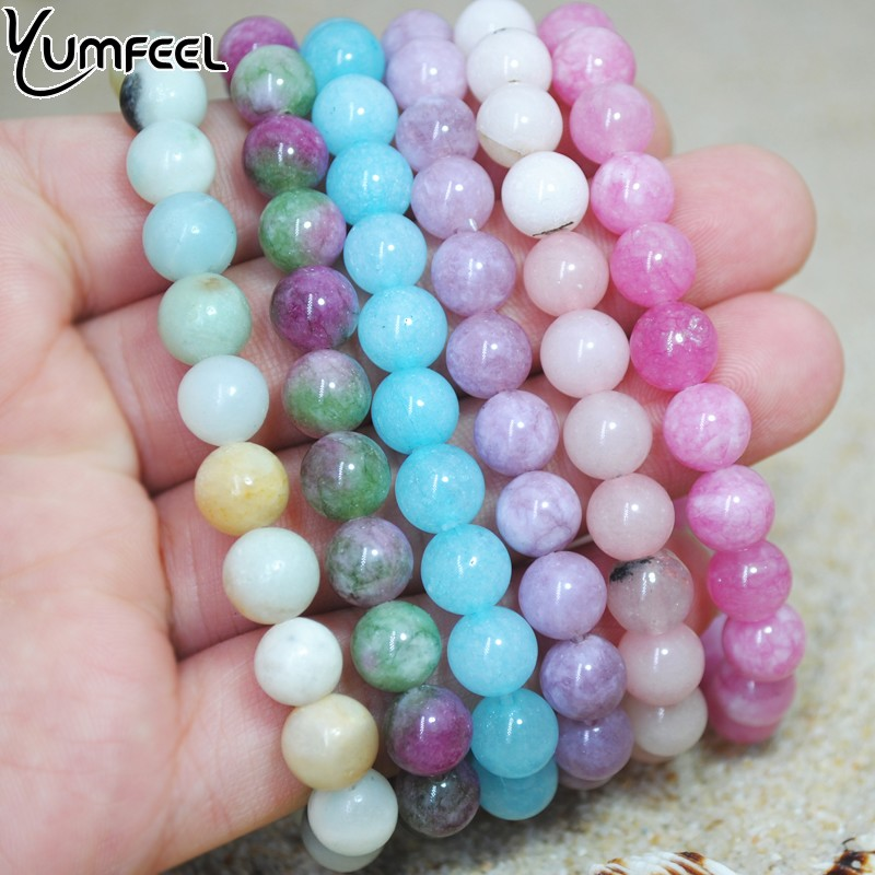 Yumfeel Brand New Natural Stone Beads Bracelet 8mm Amethyst Rose Quartz Agate Lavender Jade Bracelet Women Jewelry Gifts