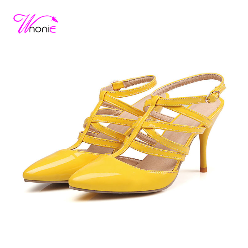 ФОТО 2017 New Fashion Women Sandals High Thin Heel PU Patent Leather Buckle Gladiator Rome Style Dress Party Summer Cool Ladies Shoes