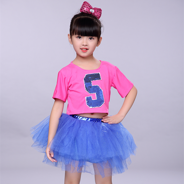 65664b380 Modern Jazz Dance Costume Girl Sequin Top Salsa Skirts Hip Hop Dance ...