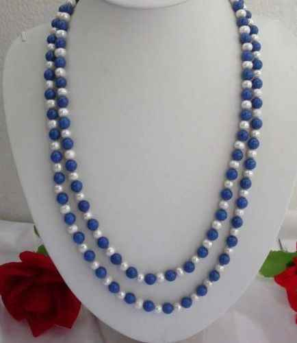 "Hot sale new Style >>>>>Long 50"" 8mm Lazuli Lapis / white pearl Round Beads Necklace Silver 925"