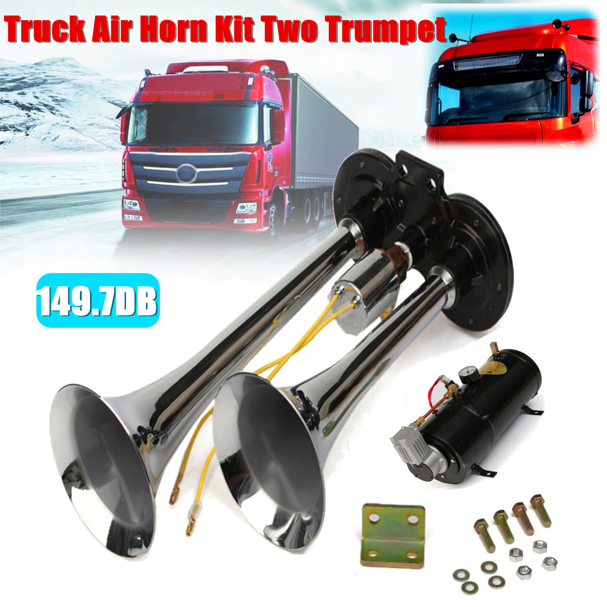купить Truck Air Horn Kit Two Trumpet 110 PSI 12V DC Compressor Pressure Gauge 12ft Tubing 149.7 db по цене 9295.94 рублей