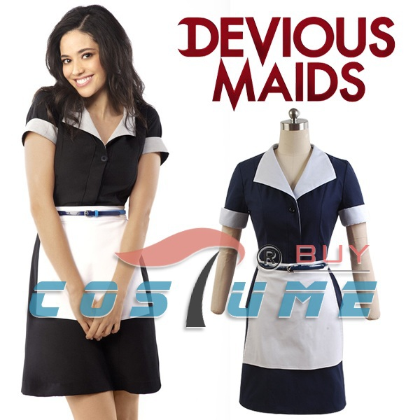 TV Devious Maids Cosplay Costumes Dress Uniform Dark Blue Dress Halloween For Women Kitchen Apron