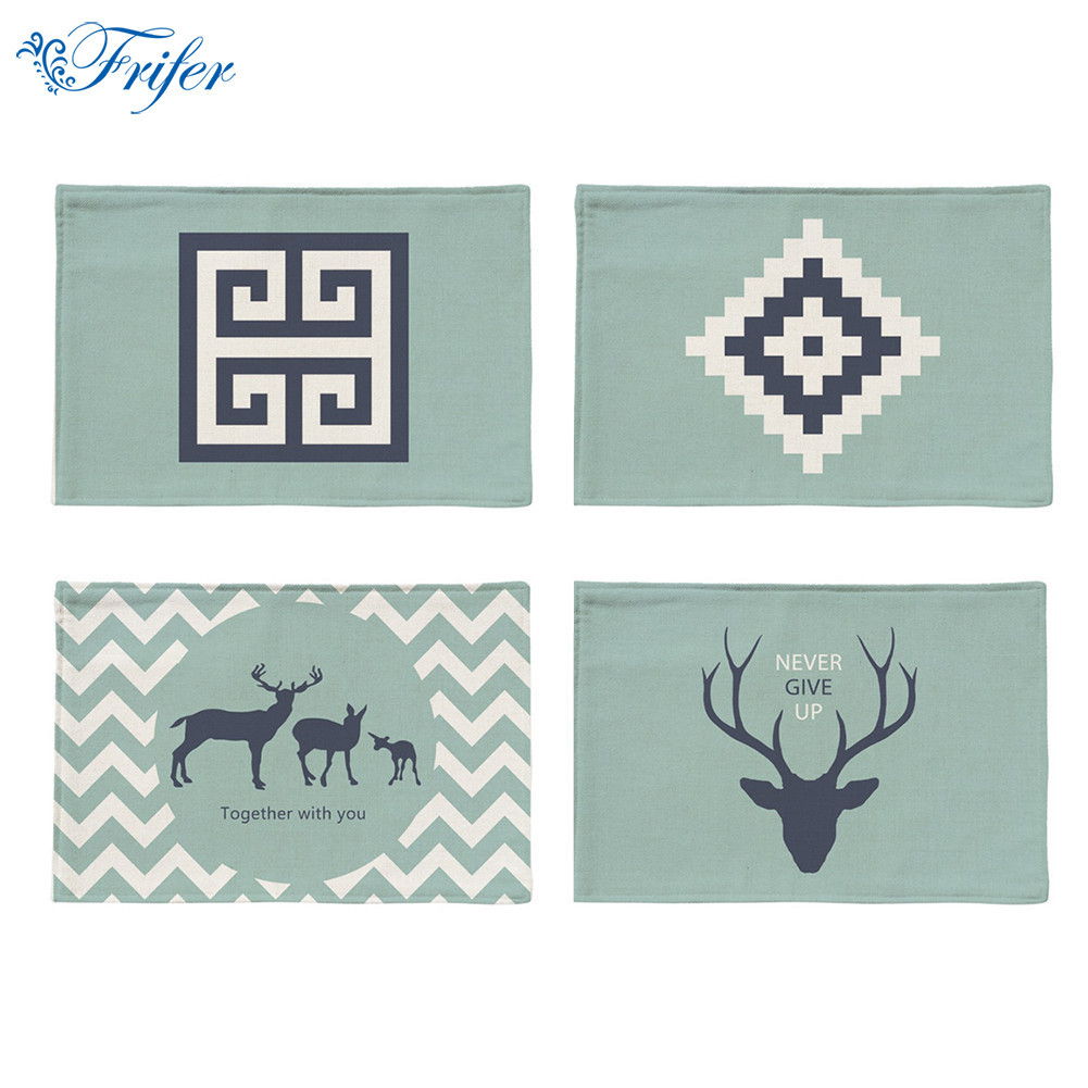 Nordic Style Placemat Printed Table Mat for Tables Christmas Heat-insulation Cotton Linen Kitchen Dining Pads 44x28cm Home Decor