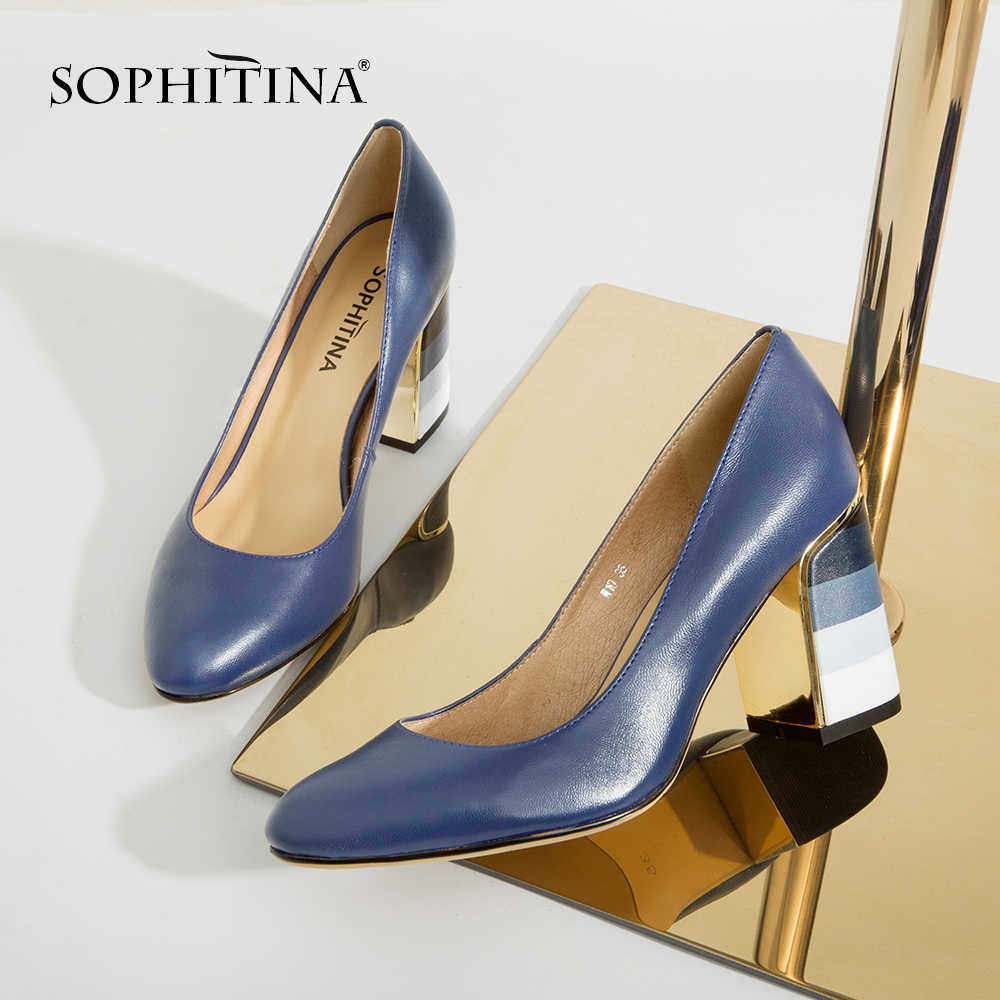 SOPHITINA Reife Heißer Verkauf Pumpen Mode Bunte Quadratische Ferse Hohe Qualität Schaffell Runde Kappe Schuhe Elegante Frauen Pumpen W10