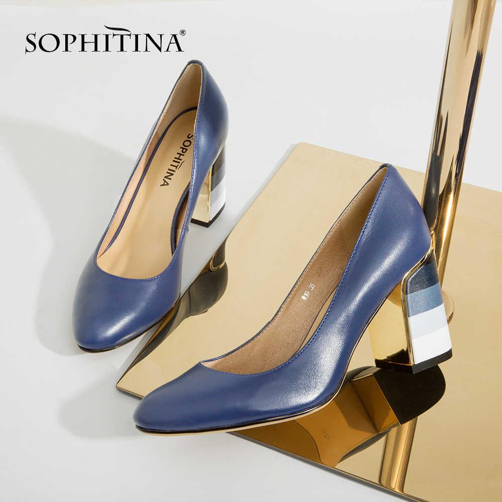 SOPHITINA pompaları moda renkli kare topuklu yüksek kaliteli koyun yuvarlak ayak pompaları olgun sıcak satış zarif kadın ayakkabısı W10