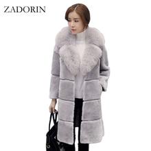 c1d50fd429440 ZADORIN High Quality Elegant Women Faux Fur Coat with Fur Collar Long Warm  Fake Fur Jacket Gilet Pelliccia Ladies Fur Coats-in Faux Fur from Women s  ...