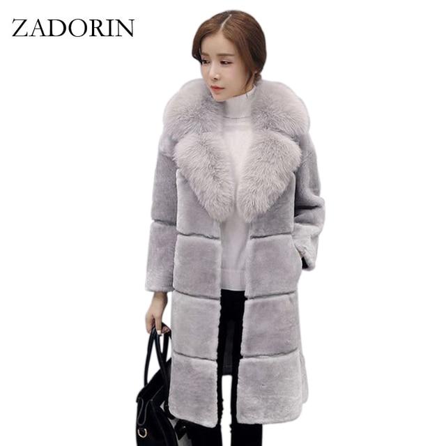 66e7ddea01c ZADORIN High Quality Elegant Women Faux Fur Coat with Fur Collar Long Warm Fake  Fur Jacket Gilet Pelliccia Ladies Fur Coats