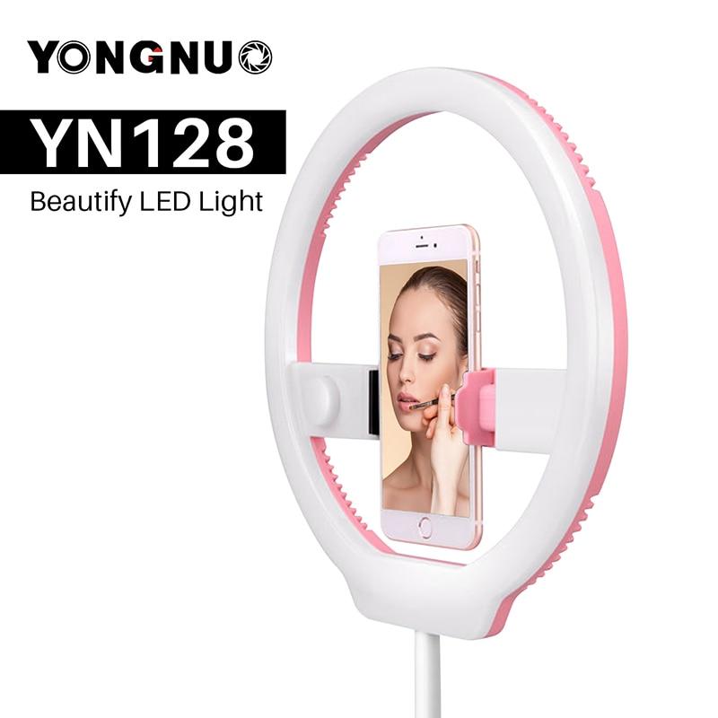 YONGNUO YN128 Camera Video LED Light 3200K-5500K Studio Photo Ring Selfie Beautify Light Dimmable Live Stream Lighting for DSLR кольцо для селфи selfie ring light на батарейке белое