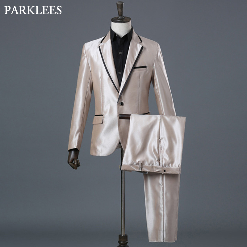 (Jackets+Pants+Bow Tie) Men Luxury Suit Set Notched Lapel Stage Prom Party Mens Champagne Dress Suits Singer Wedding DJ Costumes