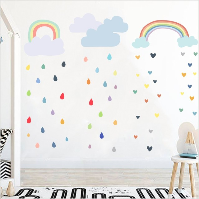 Multi Color Raindrop Wall Decals Nursery Kid Room Wall Decor Colorful  Rainbow Cloud Wall Stickers Wallpaper