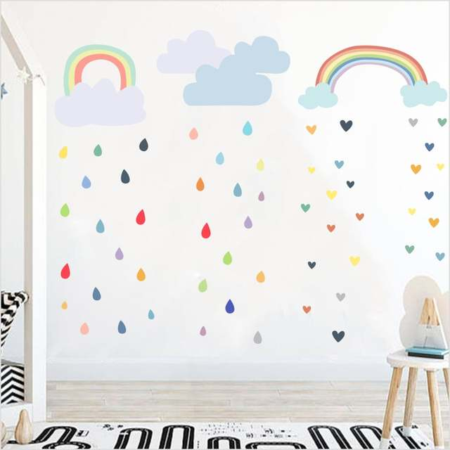 Online Shop Multi Color Raindrop Wall Decals Nursery Kid Room Wall Decor  Colorful Rainbow Cloud Wall Stickers Wallpaper Home Decoration | Aliexpress  Mobile
