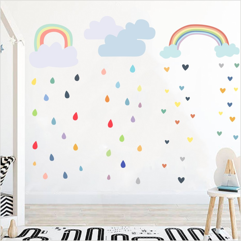 Multi Farbe Regentropfen Wandtattoos Kindergarten Kinderzimmer Wand Decor Bunte Regenbogen Wolke Wand-aufkleber Tapete Dekoration