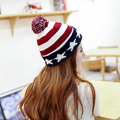 Winter Warm Fashion American Flag Beanie Hats Women Knitted Caps For Man And Women Skullies Cool Beanies Wholesale