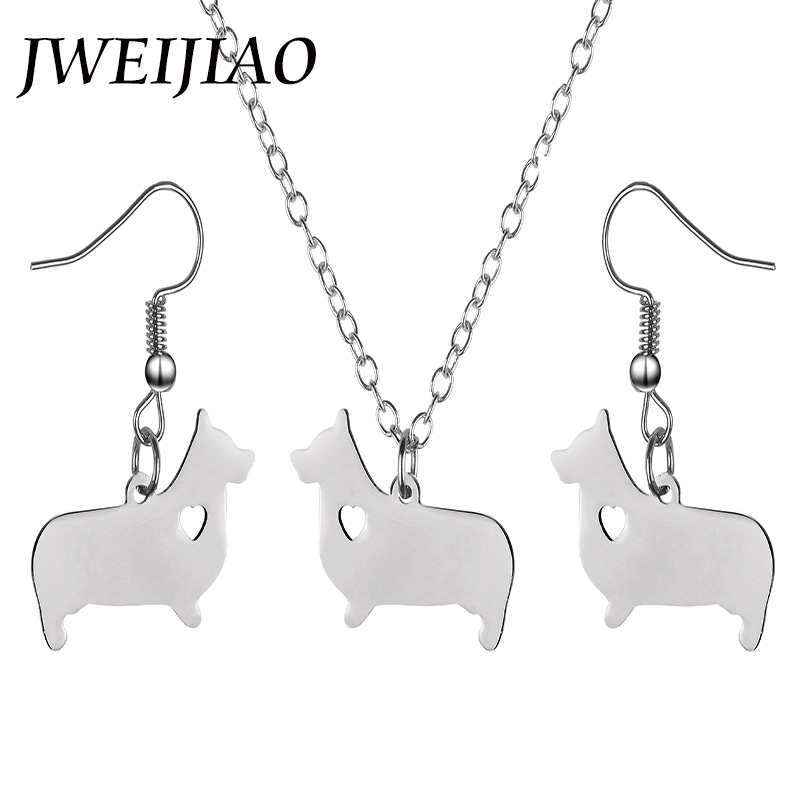 JWEIJIAO Animal Pendant Jewelry Sets Germany Dachshund Sausage Dog Charms Necklace/Earrings Kids Girls Women Jewelry Gift SKU09